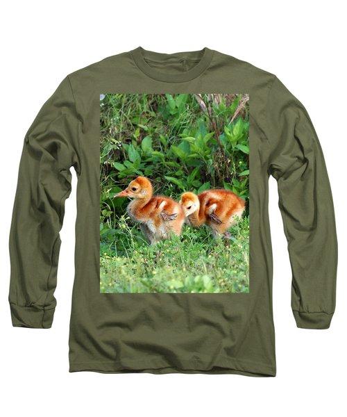 Long Sleeve T-Shirt featuring the photograph Sandhill Crane Chicks 002 by Chris Mercer