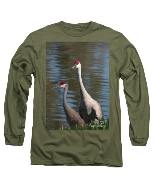 Sandhill Crane Couple By The Pond Long Sleeve T-Shirt