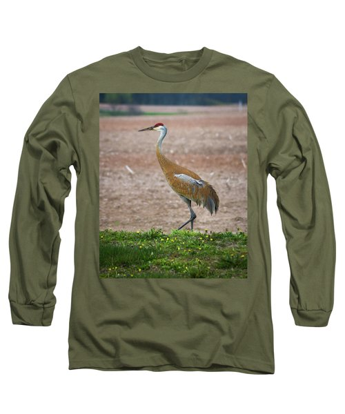 Long Sleeve T-Shirt featuring the photograph Sandhill Crane In Profile by Bill Pevlor
