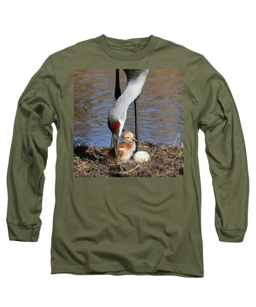 Sandhill Crane New Family Long Sleeve T-Shirt by Myrna Bradshaw