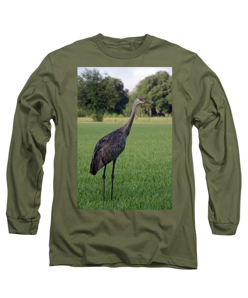 Long Sleeve T-Shirt featuring the photograph Sandhill Crane by Richard Rizzo