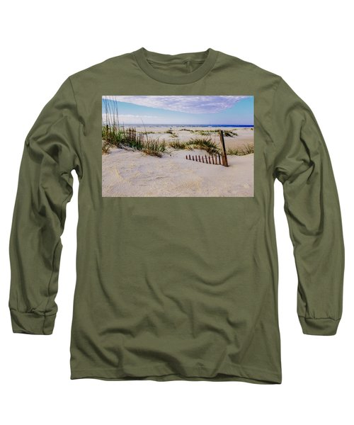 Sand  Fences On The Bogue Banks 2 Long Sleeve T-Shirt by John Harding
