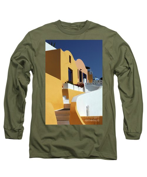 Long Sleeve T-Shirt featuring the photograph Santorini Greece Architectual Line by Bob Christopher