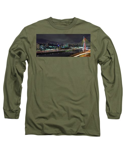Sao Paulo Skyline - Ponte Estaiada Octavio Frias De Oliveira Wit Long Sleeve T-Shirt