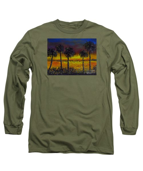 Long Sleeve T-Shirt featuring the painting Sarasota Bayfront Sunset by Lou Ann Bagnall