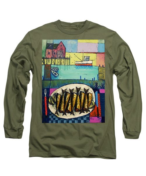 Long Sleeve T-Shirt featuring the painting Sardines by Mikhail Zarovny