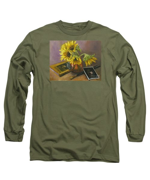 Sargent And Sunflowers Long Sleeve T-Shirt by Lisa  Spencer