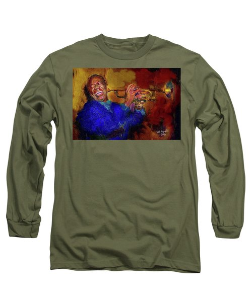 Long Sleeve T-Shirt featuring the painting Satchmo by Ted Azriel