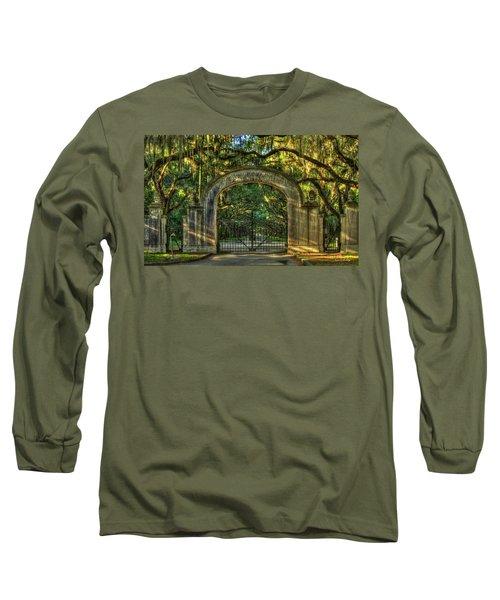 Long Sleeve T-Shirt featuring the photograph Savannah's Wormsloe Plantation Gate Live Oak Alley Art by Reid Callaway