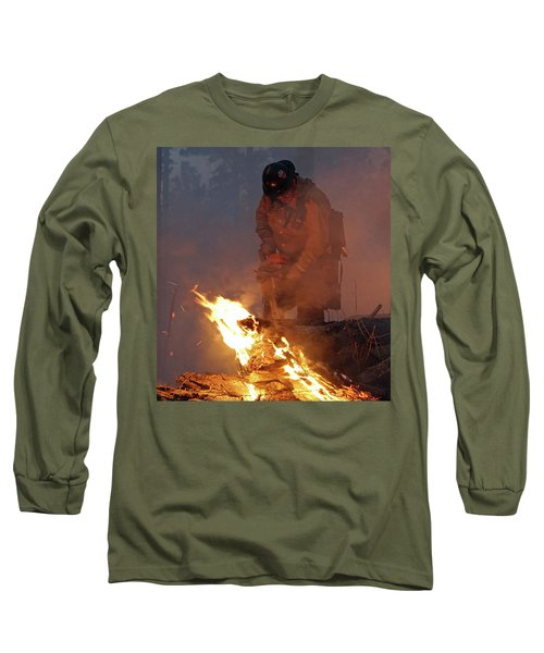 Long Sleeve T-Shirt featuring the photograph Sawyer, North Pole Fire by Bill Gabbert
