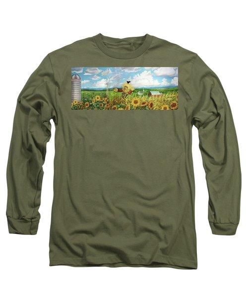 Scare Crow And Silo Farm Long Sleeve T-Shirt