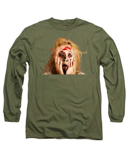 Scared Halloween Monster With Nail Through Head Long Sleeve T-Shirt by Jorgo Photography - Wall Art Gallery