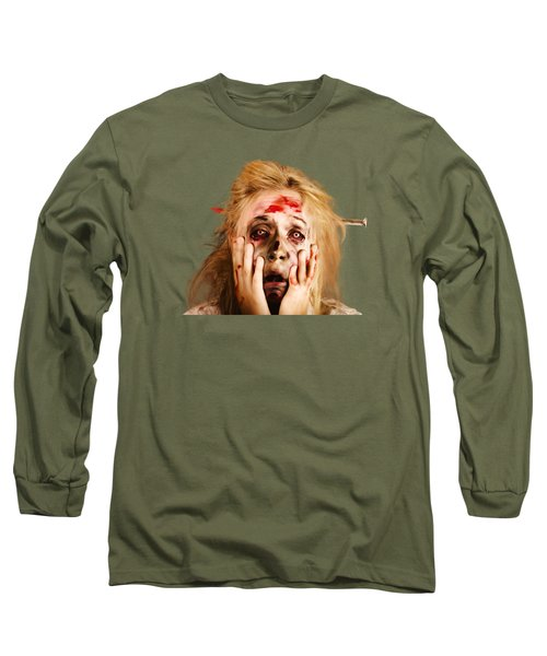 Scared Halloween Monster With Nail Through Head Long Sleeve T-Shirt