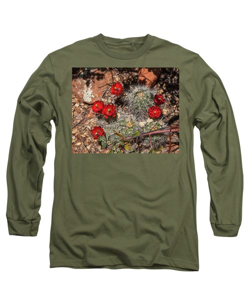 Scarlet Cactus Blooms Long Sleeve T-Shirt