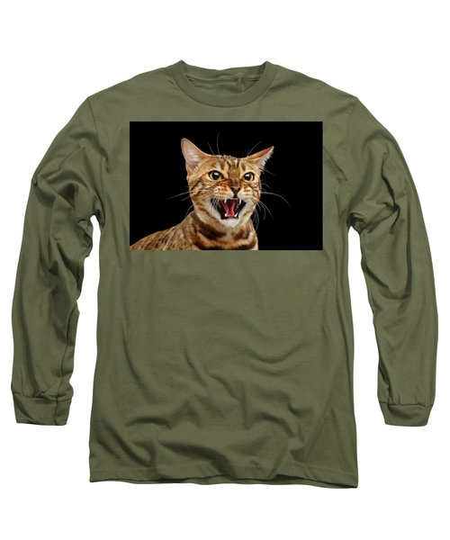 Scary Hissing Bengal Cat On Black Background Long Sleeve T-Shirt