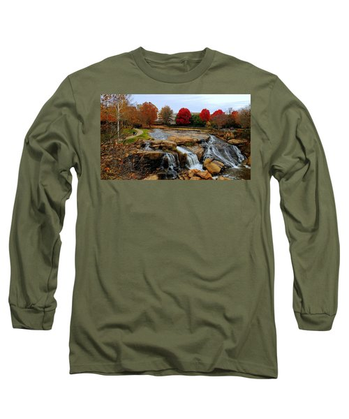 Scene From The Falls Park Bridge In Greenville, Sc Long Sleeve T-Shirt by Kathy Barney