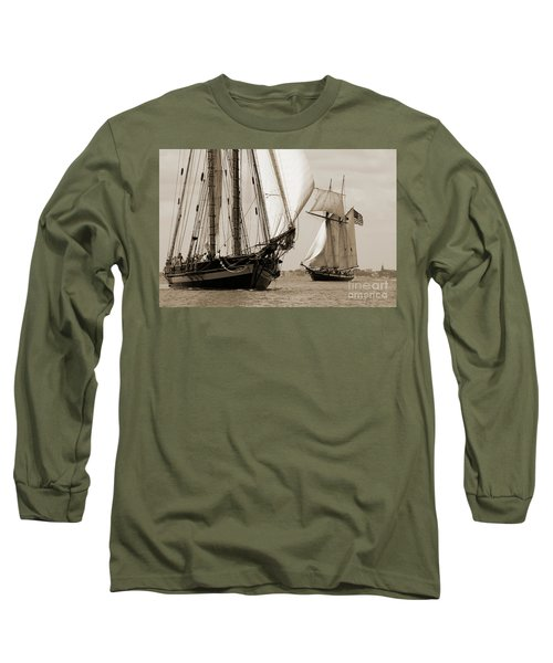 Schooner Pride Of Baltimore And Lynx Long Sleeve T-Shirt