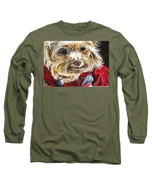 Long Sleeve T-Shirt featuring the painting Scooter From Muttville by Mary-Lee Sanders