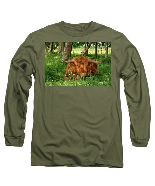 Long Sleeve T-Shirt featuring the photograph Scottish Higland Cow by Patricia Hofmeester