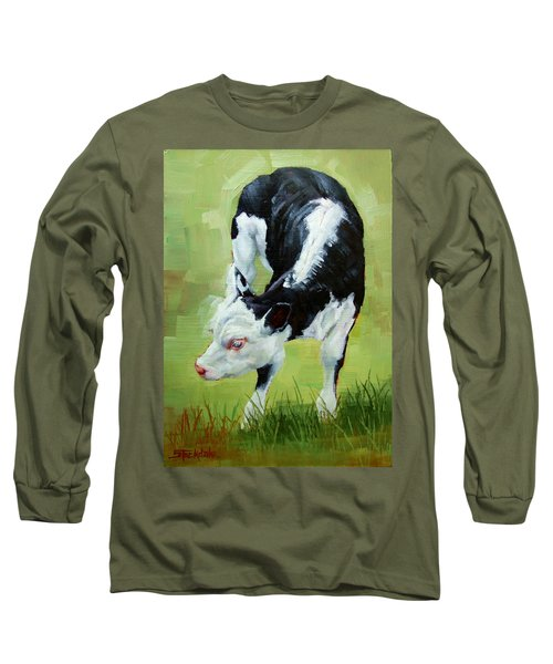 Long Sleeve T-Shirt featuring the painting Scratching Calf by Margaret Stockdale