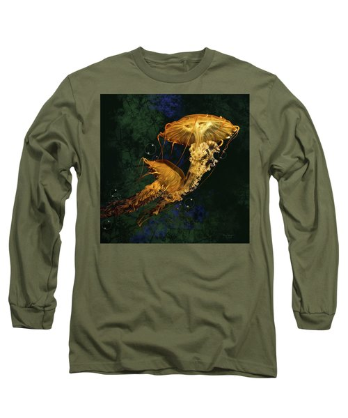 Long Sleeve T-Shirt featuring the digital art Sea Nettle Jellies by Thanh Thuy Nguyen