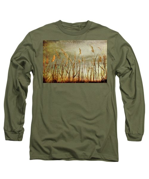 Long Sleeve T-Shirt featuring the photograph Sea Oats And Sky On Outer Banks Fx by Dan Carmichael