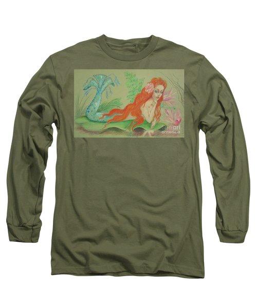 Sea Siren, Resting -- Whimsical Mermaid Drawing Long Sleeve T-Shirt