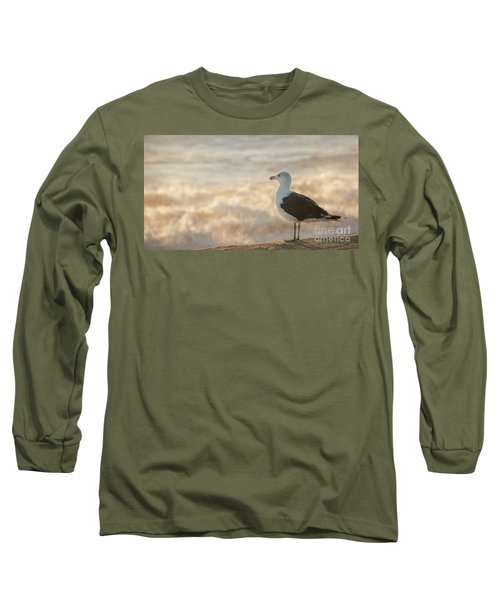 Seagull At Sunrise Long Sleeve T-Shirt