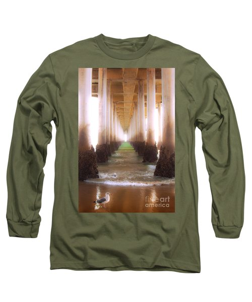 Long Sleeve T-Shirt featuring the photograph Seagull Under The Pier by Jerry Cowart
