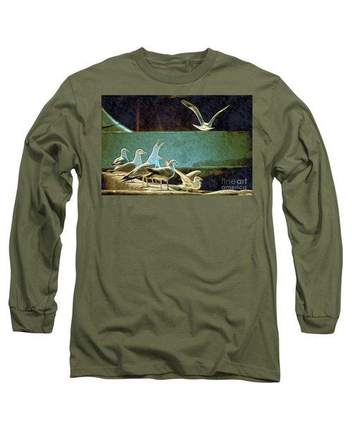 Seagulls On The Beach Long Sleeve T-Shirt