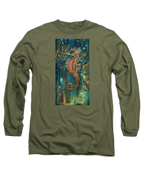 Seahorse And Kelp Long Sleeve T-Shirt by Linda Olsen