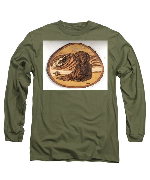 Long Sleeve T-Shirt featuring the pyrography Seaside Sam by Denise Tomasura