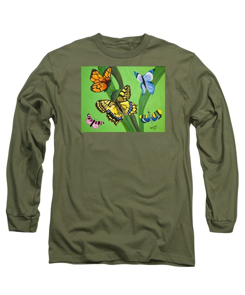 Long Sleeve T-Shirt featuring the painting Season Of Butterflies by Donna Blossom