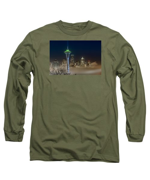 Long Sleeve T-Shirt featuring the photograph Seattle Foggy Night Lights by Ken Stanback