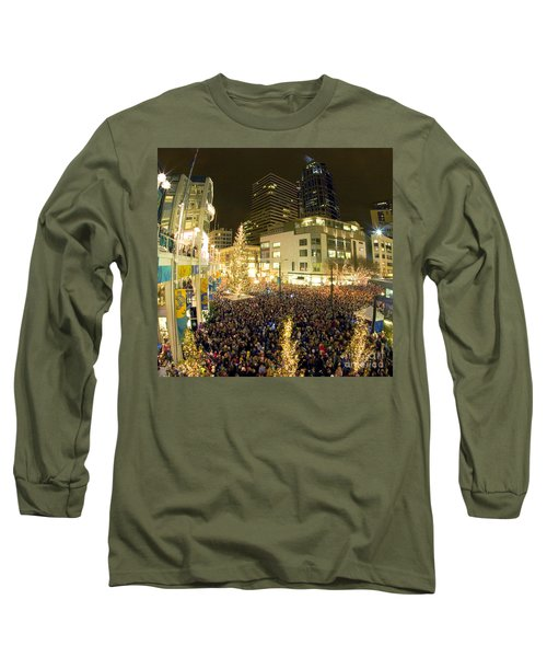 Long Sleeve T-Shirt featuring the photograph Seattle Westlake Tree Lighting by Peter Simmons