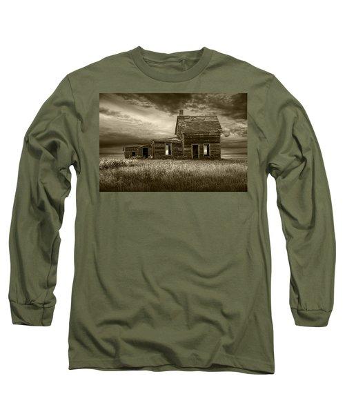 Sepia Tone Of Abandoned Prairie Farm House Long Sleeve T-Shirt
