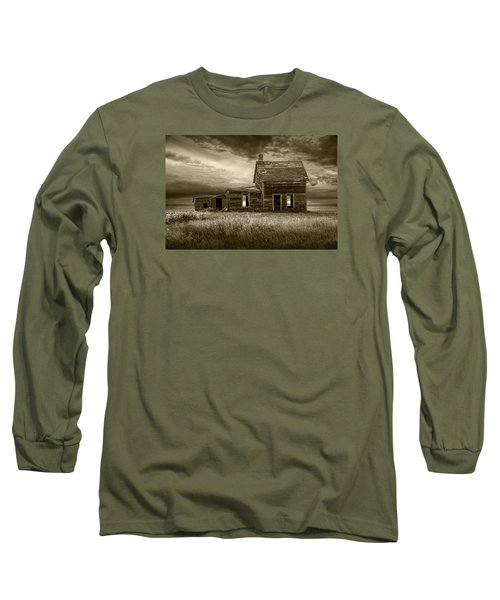 Sepia Tone Of Abandoned Prairie Farm House Long Sleeve T-Shirt