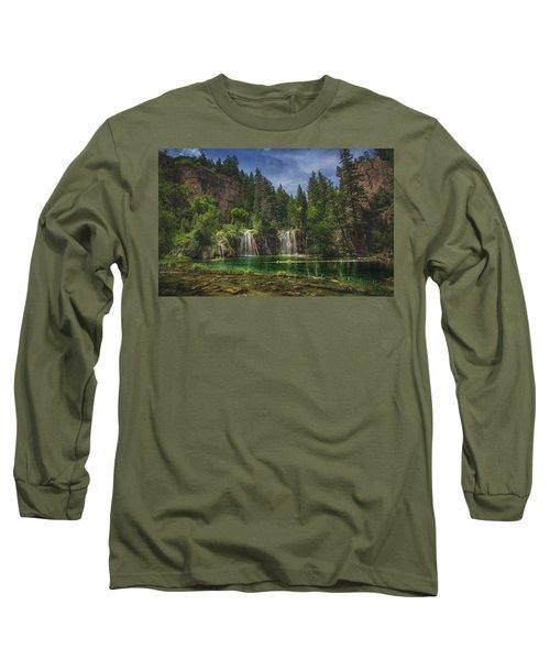 Serene Hanging Lake Waterfalls Long Sleeve T-Shirt