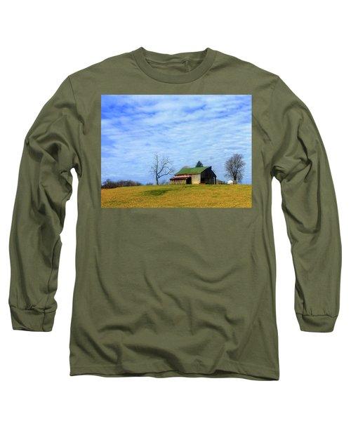 Serenity Barn And Blue Skies Long Sleeve T-Shirt