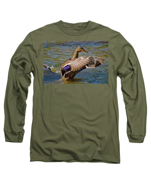 Long Sleeve T-Shirt featuring the photograph Shake It Off by Linda Unger