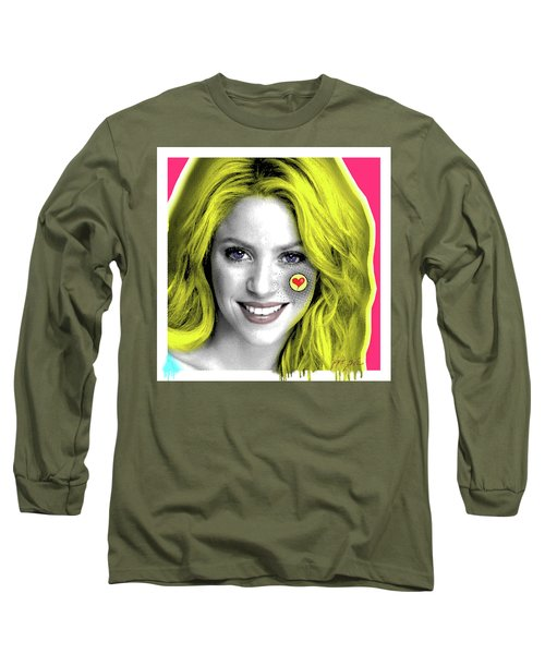 Shakira, Pop Art, Pop Art, Portrait, Contemporary Art On Canvas, Famous Celebrities Long Sleeve T-Shirt by Dr Eight Love