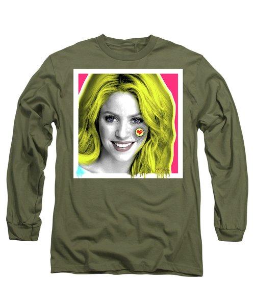 Shakira, Pop Art, Pop Art, Portrait, Contemporary Art On Canvas, Famous Celebrities Long Sleeve T-Shirt