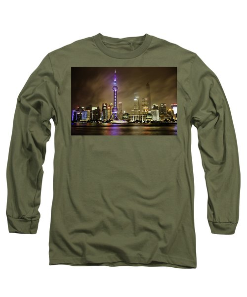 Long Sleeve T-Shirt featuring the photograph Shanghai Skyline by Chris Cousins