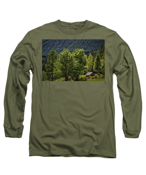 Long Sleeve T-Shirt featuring the photograph Shed In The Slovenian Alps by Stuart Litoff