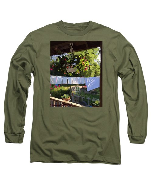Sheets And Pillow Cases On The Line With Lantana Flowers Long Sleeve T-Shirt