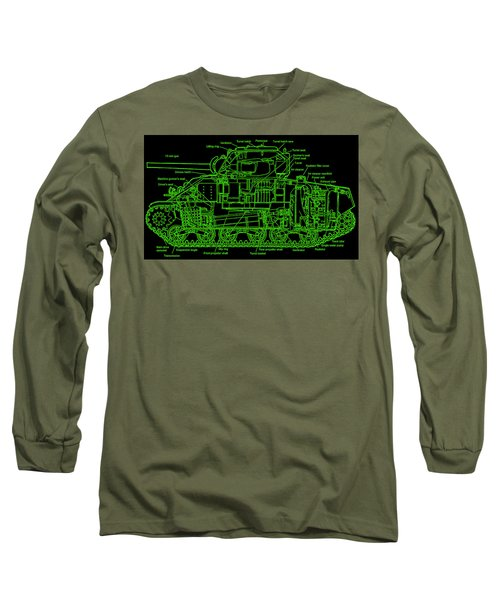 Long Sleeve T-Shirt featuring the drawing Sherman M4a4 Tank by Robert Geary