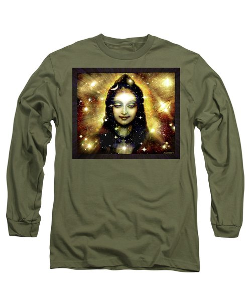 Shiva In Golden Space  Long Sleeve T-Shirt by Ananda Vdovic