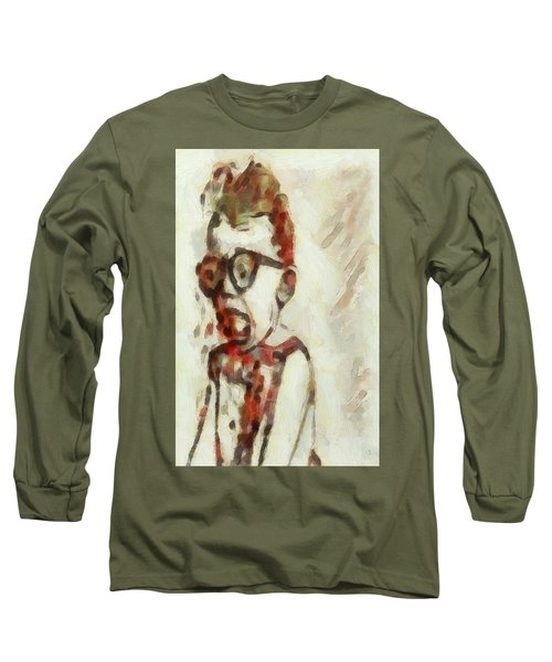 Long Sleeve T-Shirt featuring the painting Shocked Scared Screaming Boy With Curly Red Hair In Glasses And Overalls In Acrylic Paint As A Loose by MendyZ