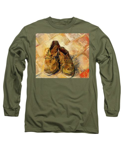Long Sleeve T-Shirt featuring the painting Shoes                                   by Vincent van Gogh