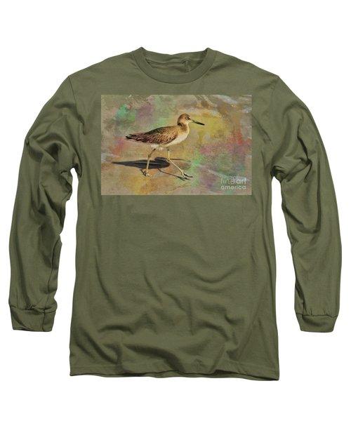 Long Sleeve T-Shirt featuring the painting Shore Bird Beauty by Deborah Benoit
